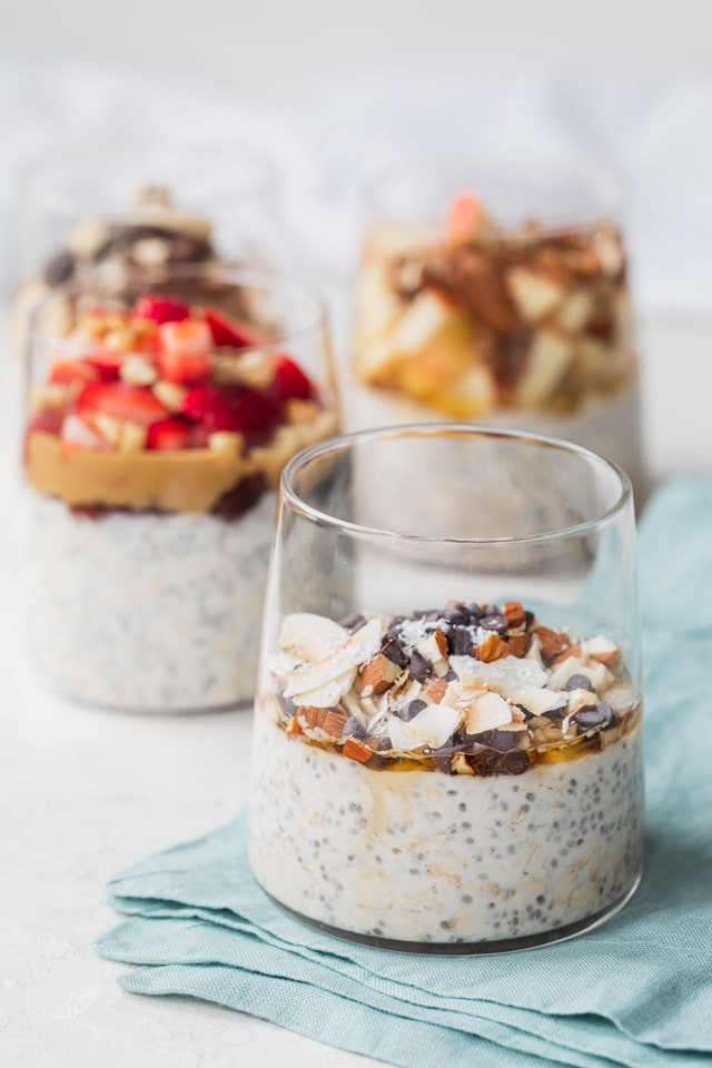 easy overnight oats with a variety of topping ideas