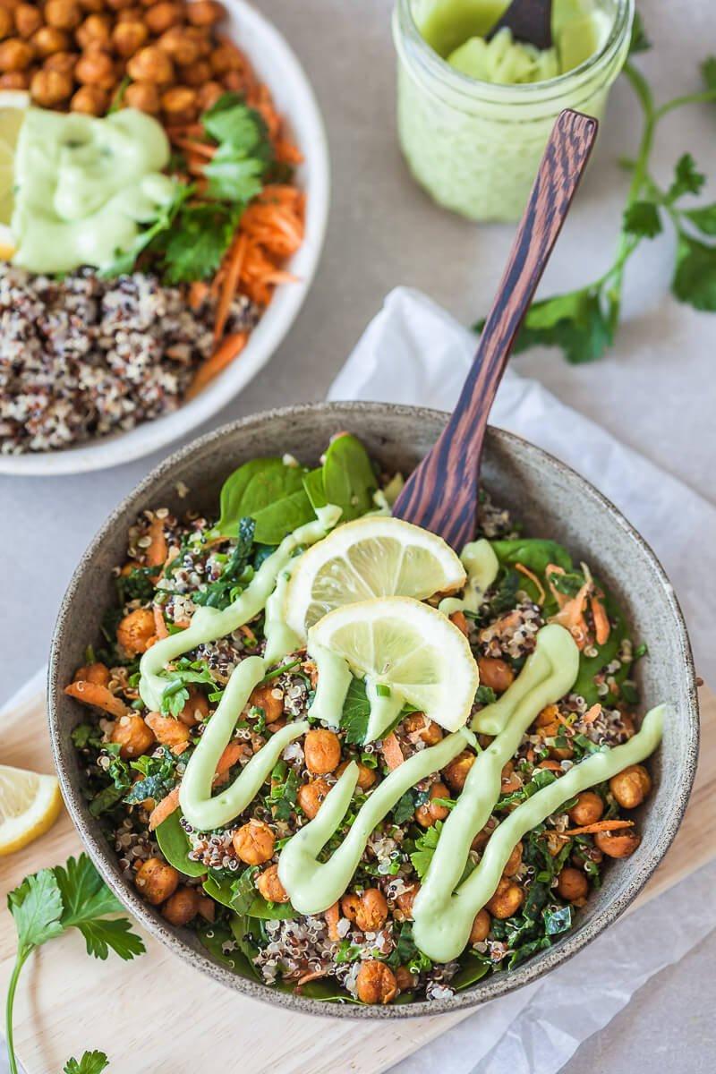 chickpea kale quinoa bowl