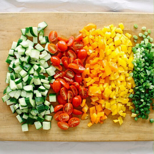 chopped veggies on a cutting board