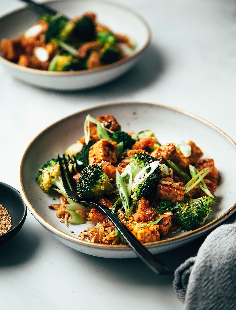 kimchi fried rice with vegetables for a healthy gut