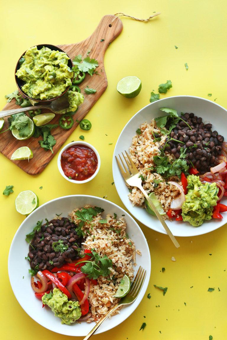 cauliflower rice burrito bowl with a side of guacamole