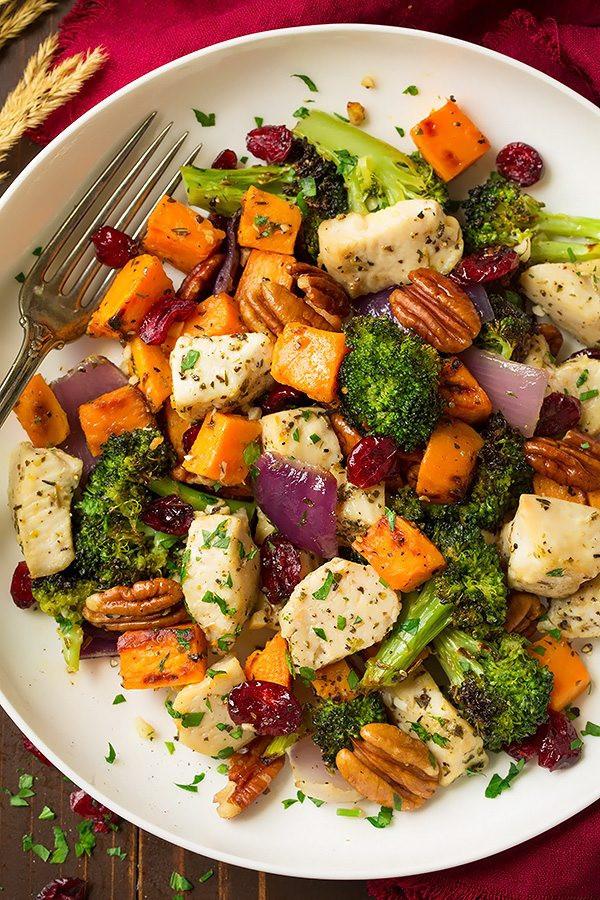 chicken broccoli sweet potato sheet pan dinner recipe