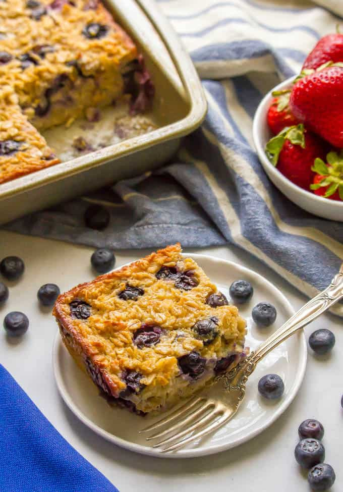 blueberry baked oatmeal on a plate after baking