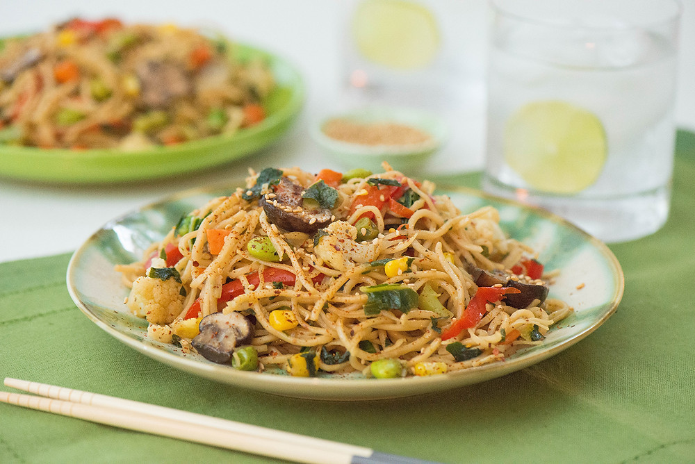 vegetable stir fry using frozen vegetables and pasta