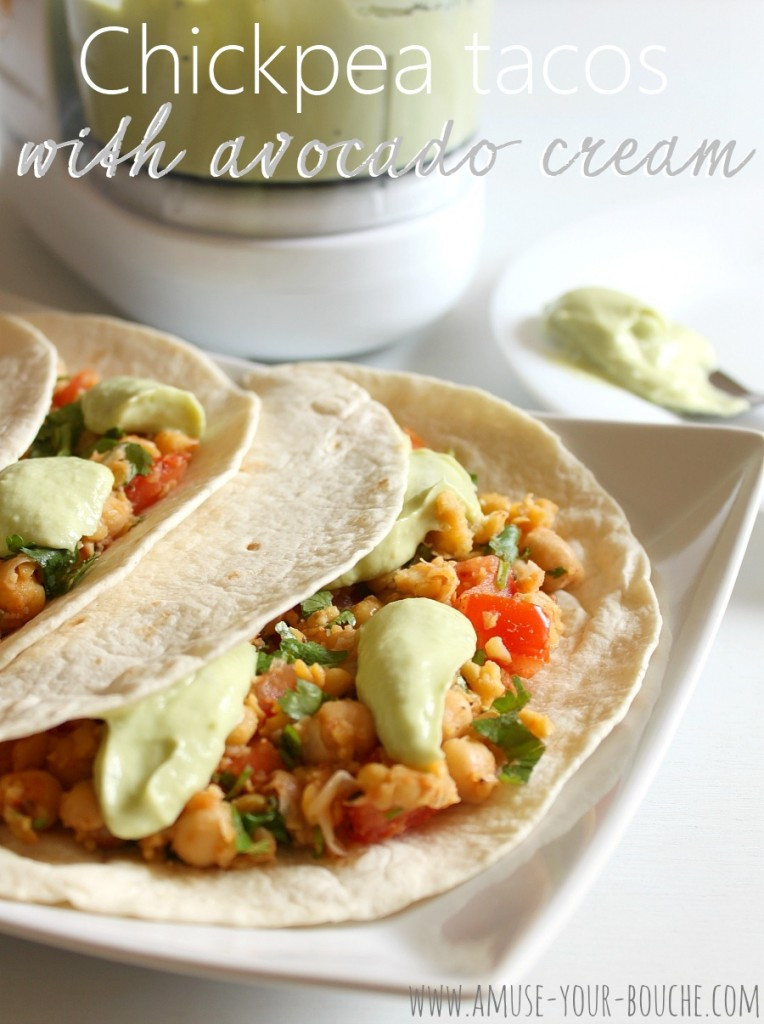 chickpea tacos on a plate with avocado cream