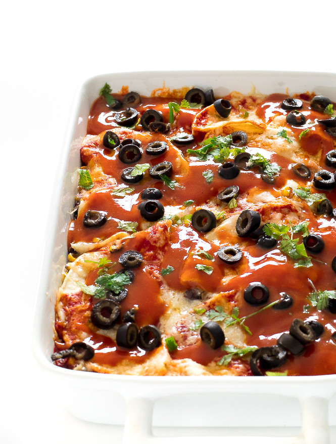 enchilada casserole in a dish waiting to be served