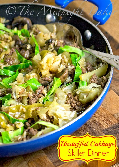cabbage ground beef mushrooms in a skillet