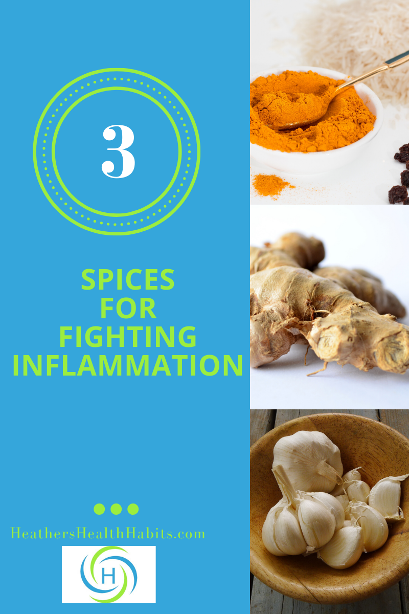 3 spices for fighting inflammation with pictures of turmeric, garlic and ginger