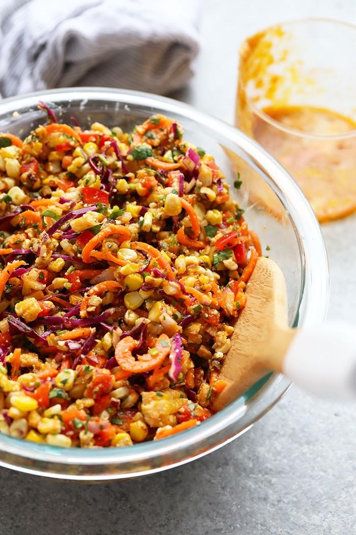 thai corn chili salad in a bowl