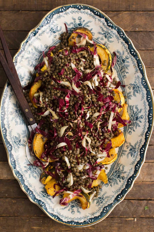 radicchio salad with lentils and roasted acorn squash