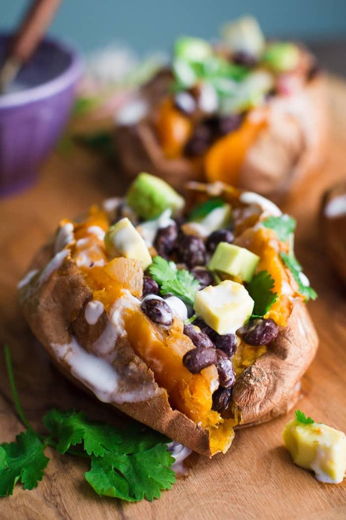 black bean stuffed sweet potatoe