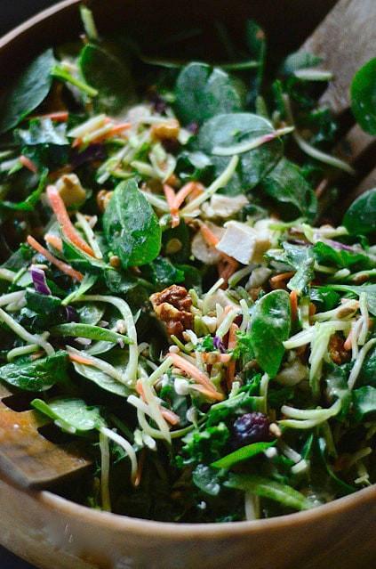 broccoli, kale, spinach salad