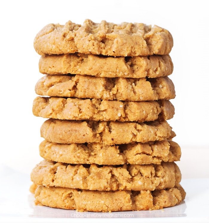 a stack of vegan peanut butter cookies