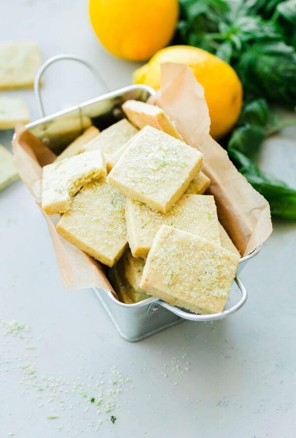 lemon shortbread cookies with basil for dessert
