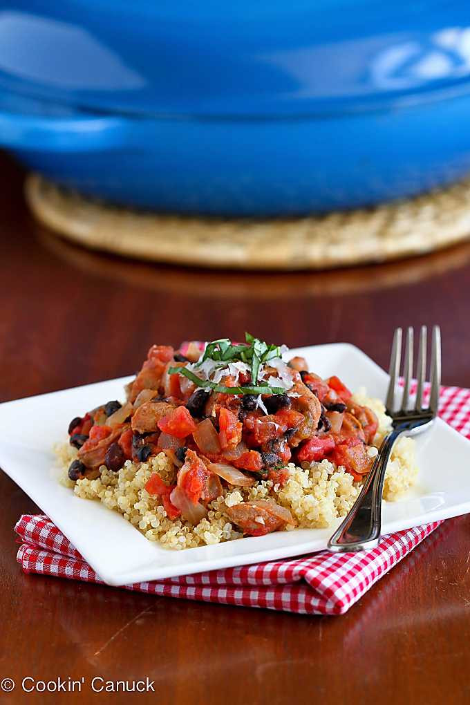 chicken sausage bean ragout on quinoa