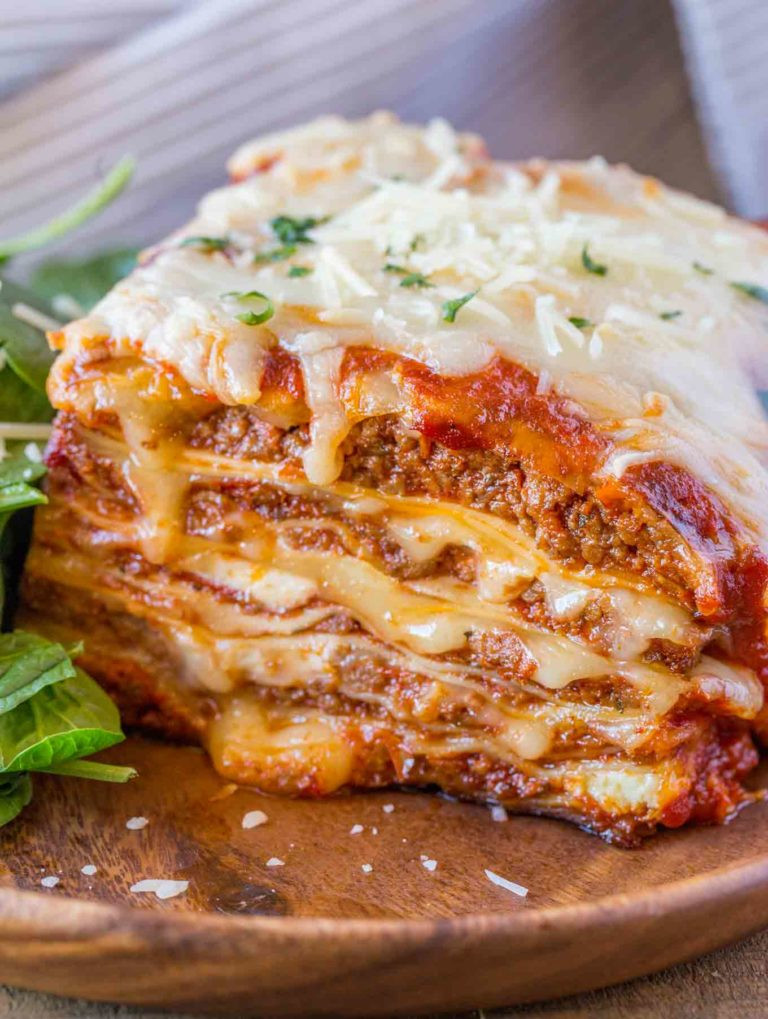 ultimate lasagna with meat can be made vegetarian by substituting vegetables for the meat