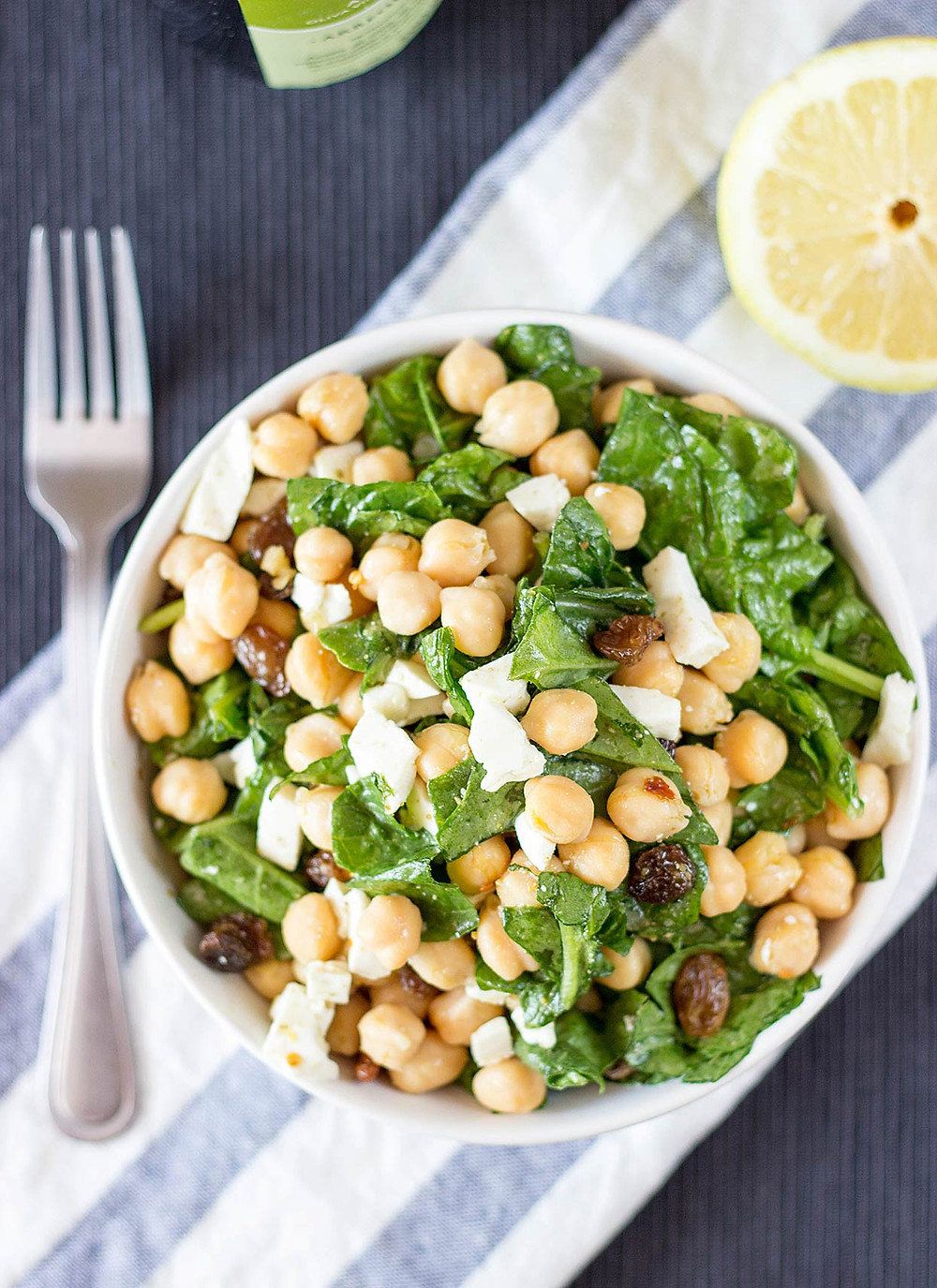 chickpea spinach salad is full of healthy ingredients and promotes a calm and clear mind