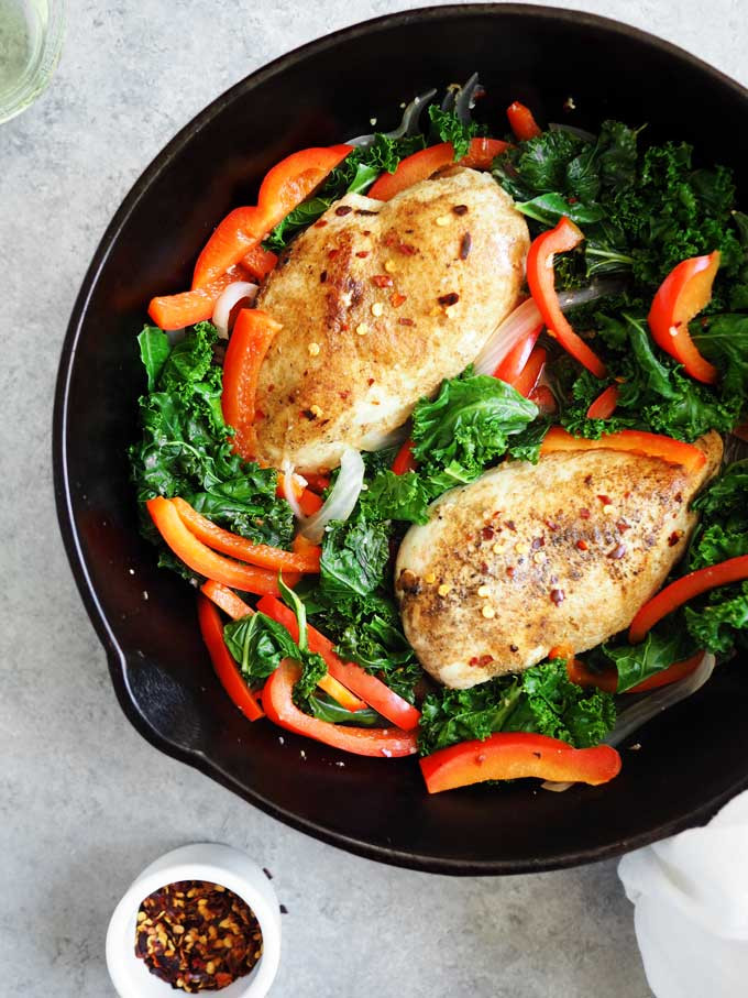 kale chicken and red bell peppers in a pan