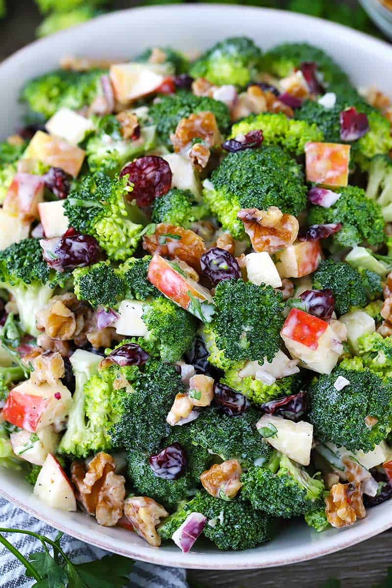 broccoli salad with apples walnuts and cranberries for great gut health
