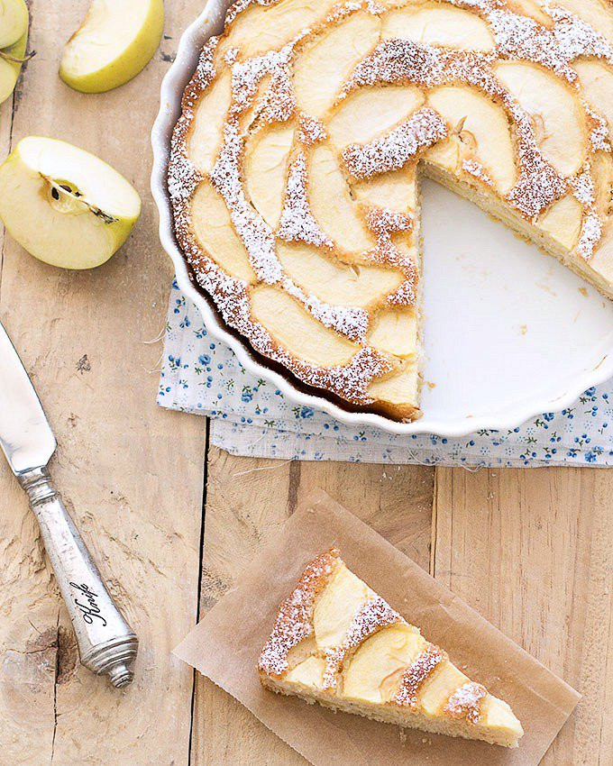 low fat apple cake in a cake pan