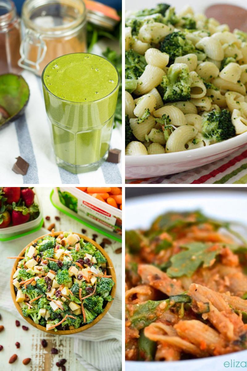spinach smoothie broccoli pasta dinner broccoli apple salad