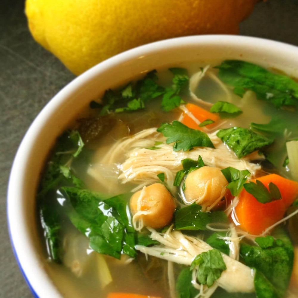 easy chicken soup with greens