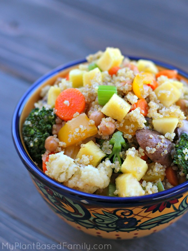 chickpea and quinoa stir fry in a bowl