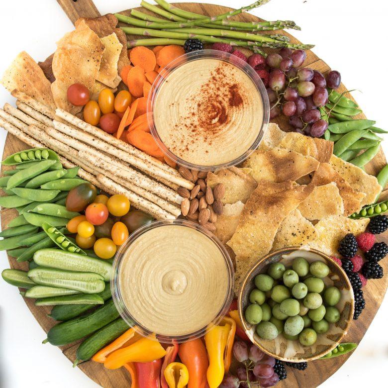 hummus vegetables on a platter recipe
