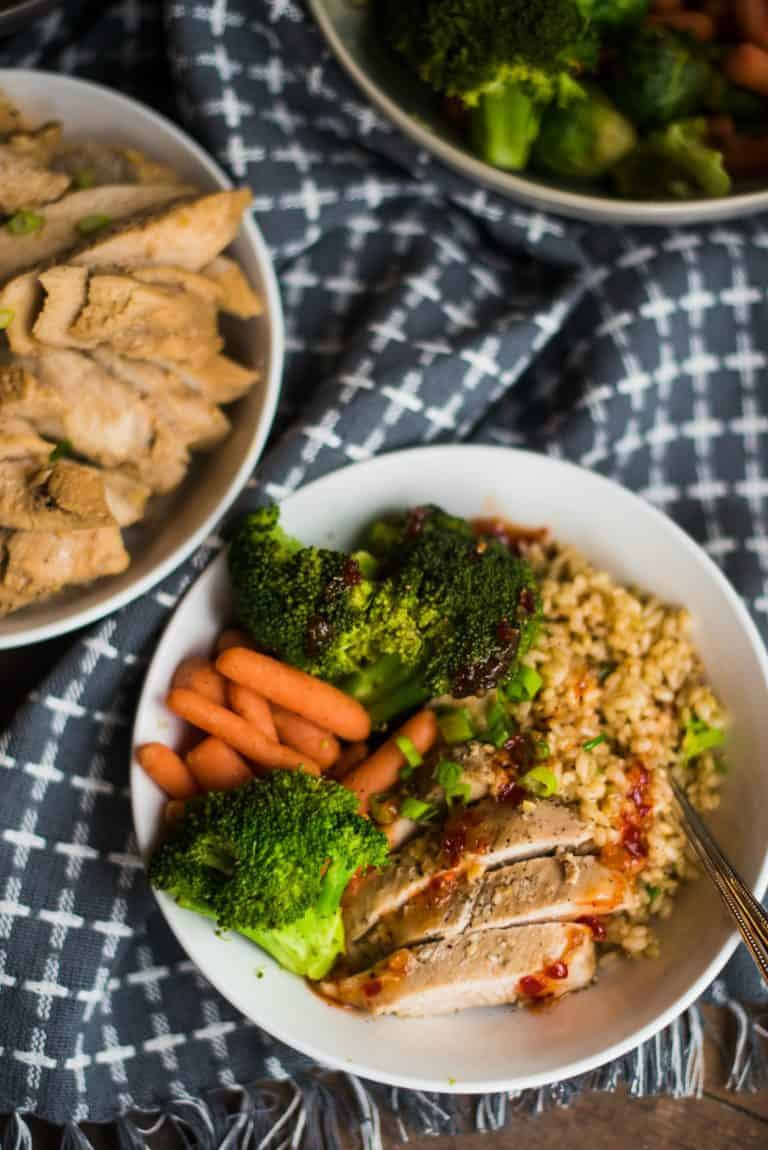chicken stir fry with organic chicken broccoli and brown rice