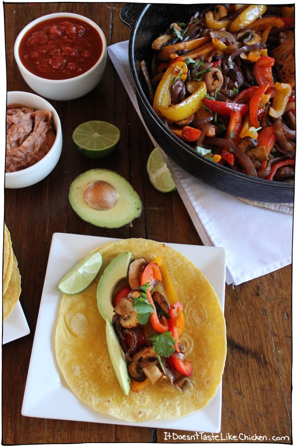vegetable fajitas with avocado