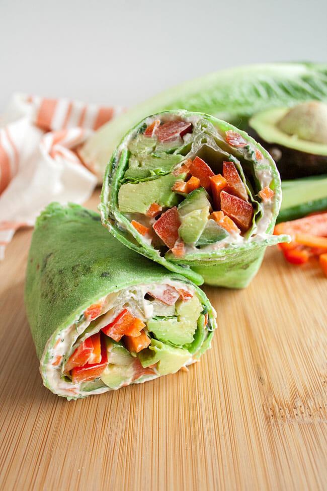 vegan vegetable wrap on a cutting board
