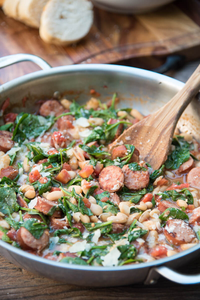 skillet sausage and white beans make a healthy one pan meal