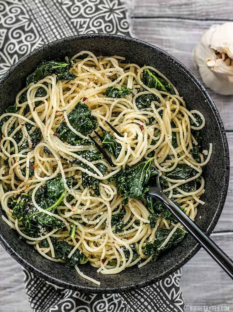 pasta with kale in a skillet
