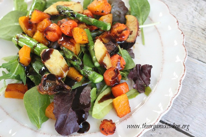 roasted butternut squash asparagus carrots and salad