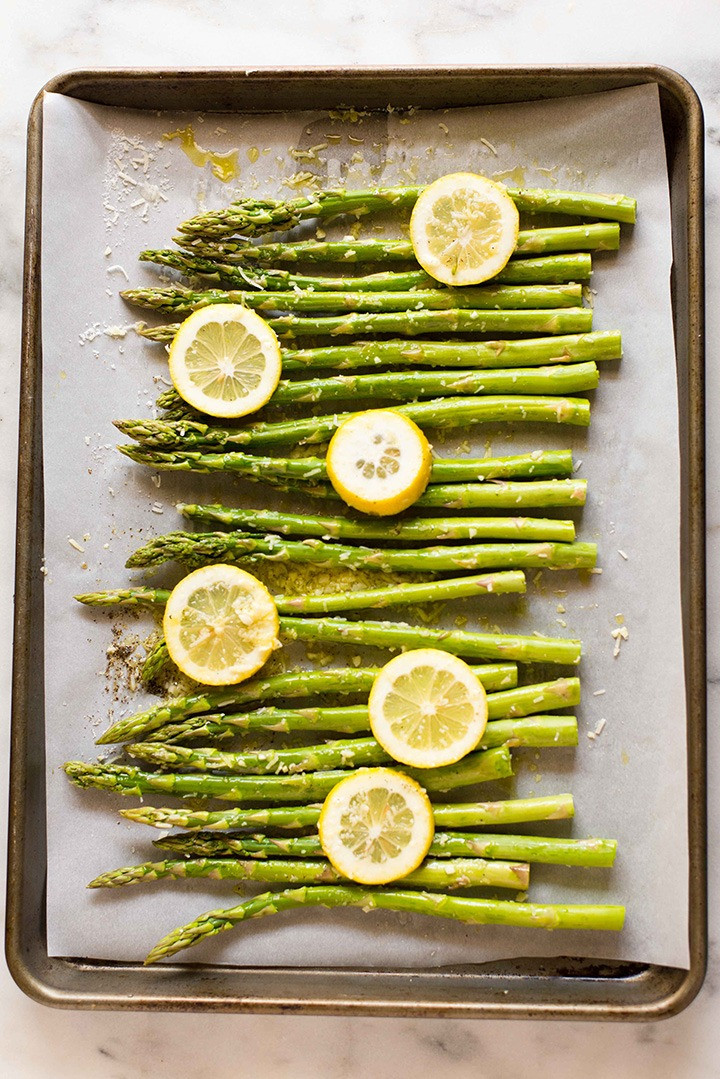 asparagus on a sheet pan to eat for good gut health