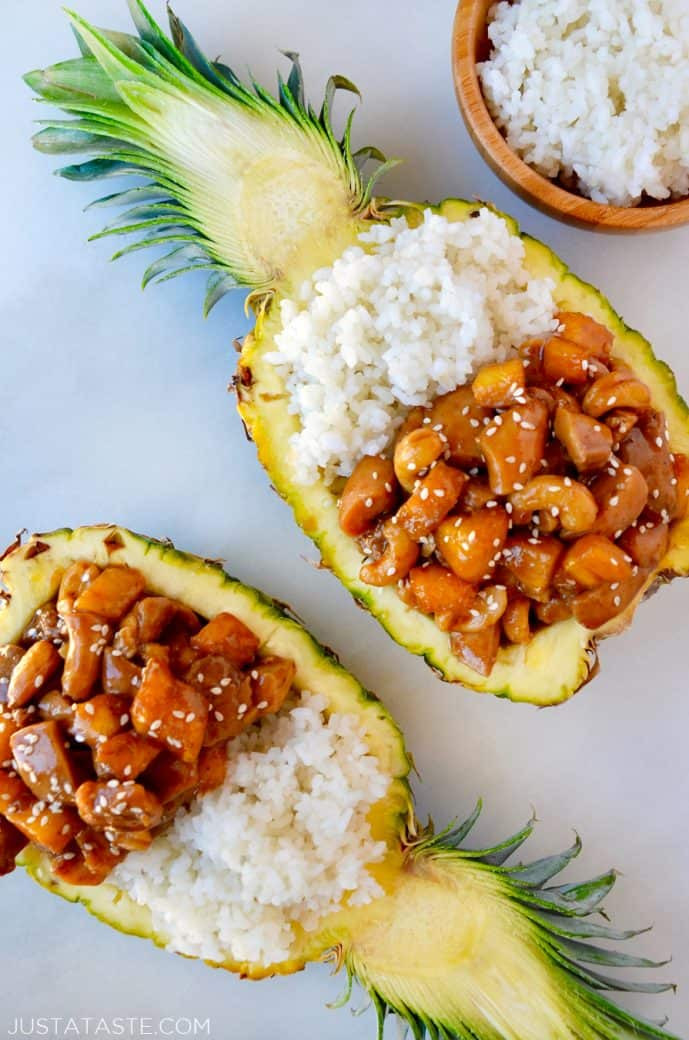 sticky chicken and white rice in a pineapple