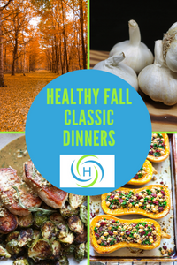 healthy fall classic dinners using garlic, squash and pork chops