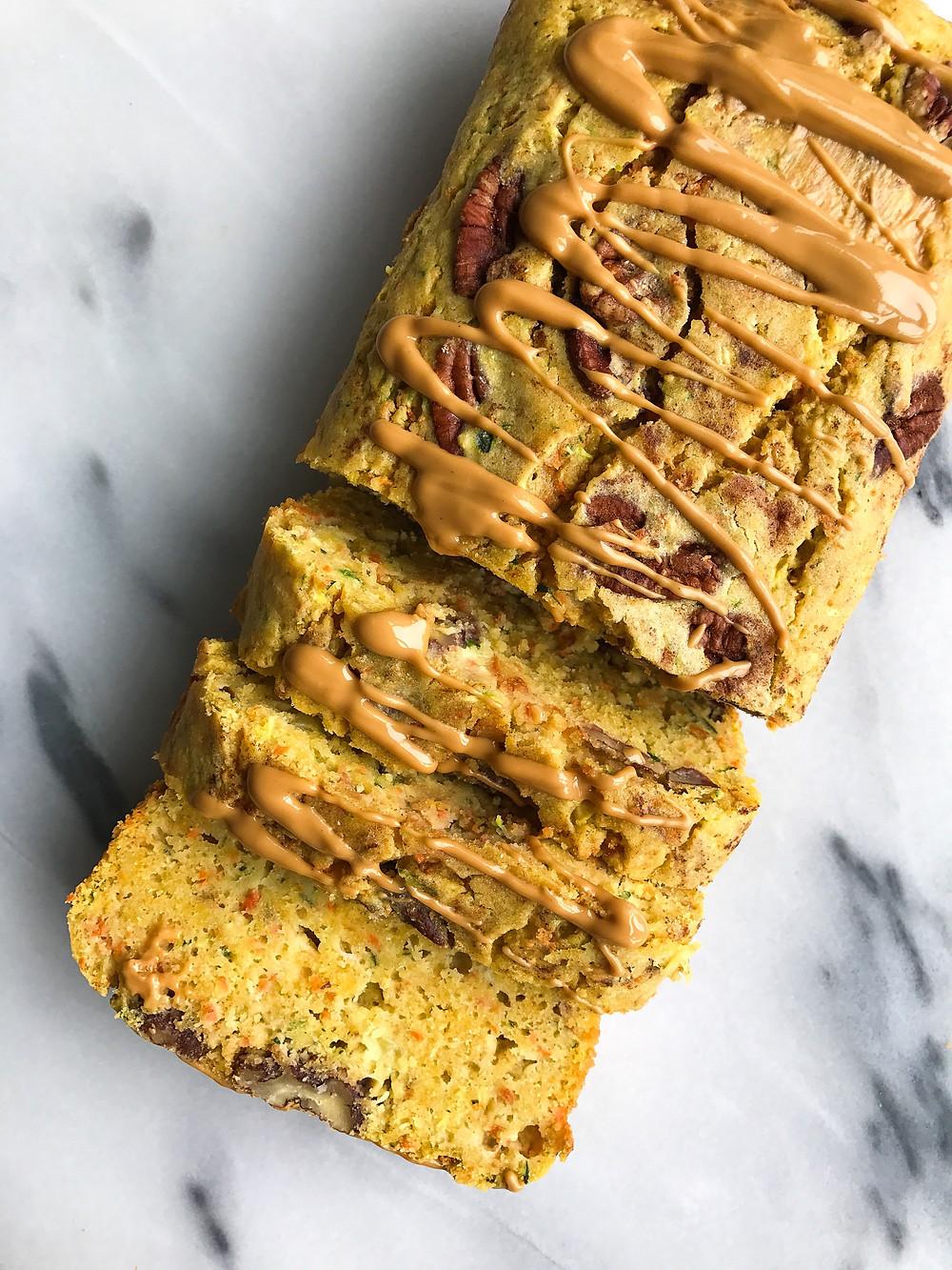 carrot zucchini chickpea breakfast bread