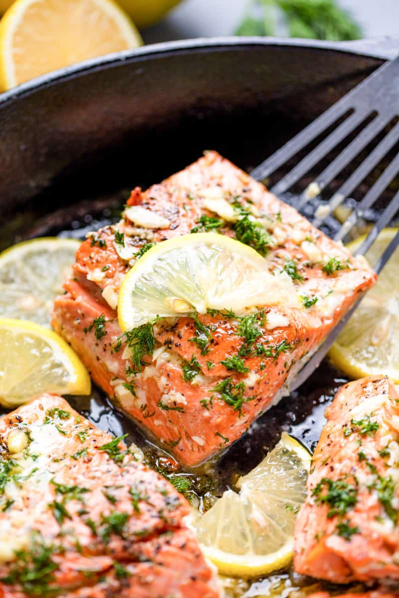 lemon garlic salmon makes a quick and healthy dinner
