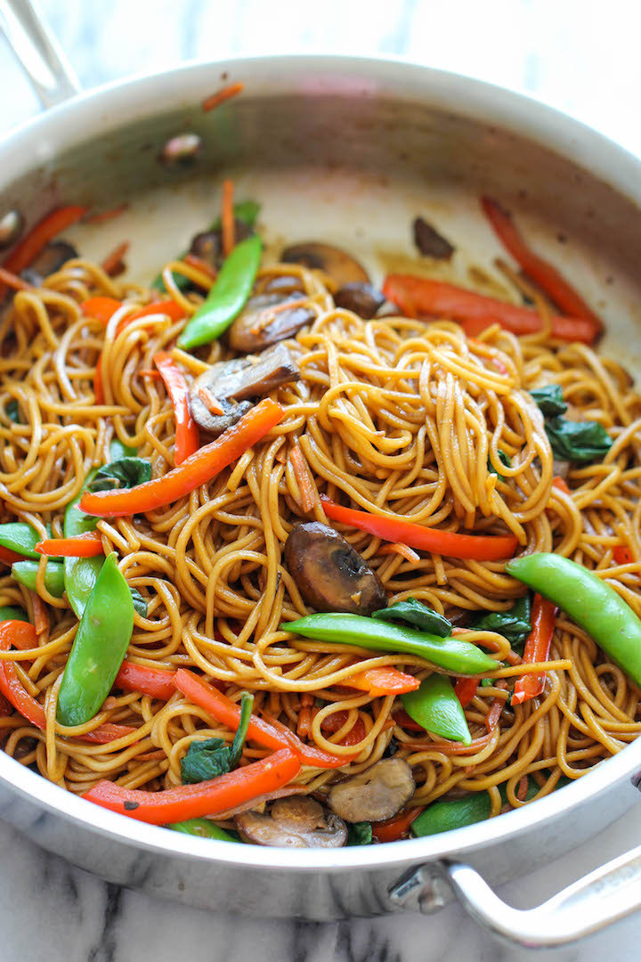 easy vegetable lo mein for the whole family to eat for dinner
