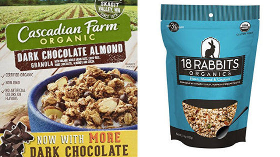 cascadian farm cereal and 18 rabbits granola