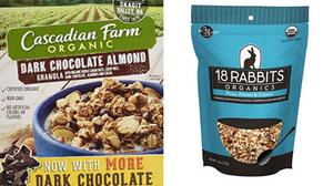 cascadian farm cereal and 18 rabbits granola