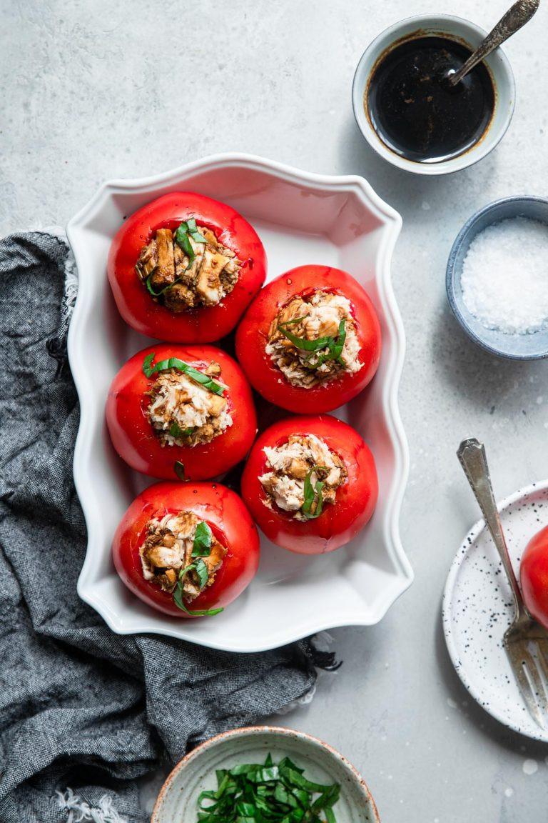 tuna stuffed tomatoes on a plate