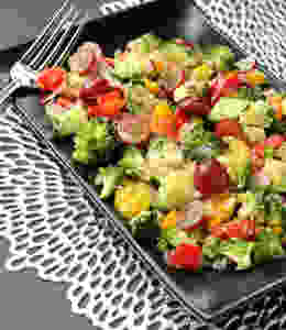 raw chopped salad with grapes