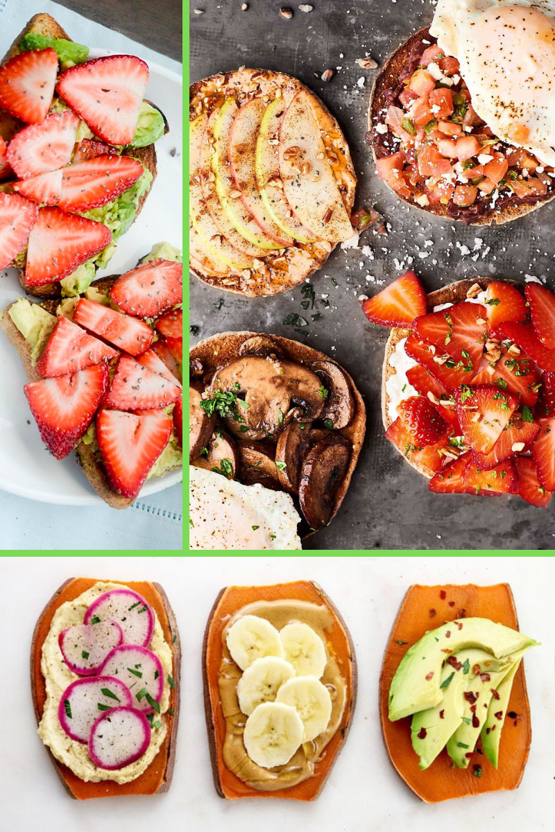 toast for breakfast topped with avocado strawberries mushrooms apples nut butter