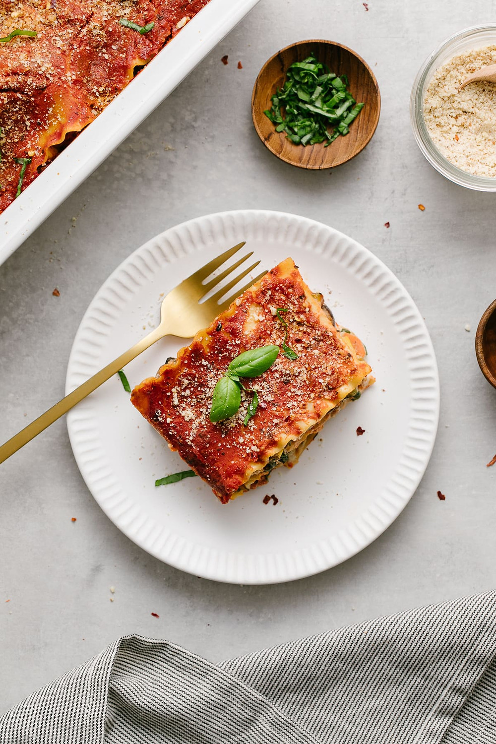 vegan lasagna is full of vegetables and uses vegan ricotta cheese