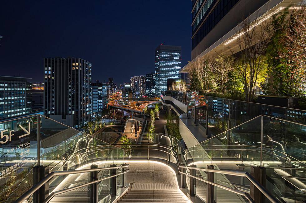 5階から6階へ上がる階段  足元の光が連続して人々を誘導する。
