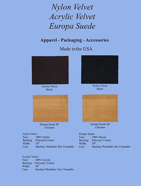 Nylon, Acrylic, Suede Colorcard