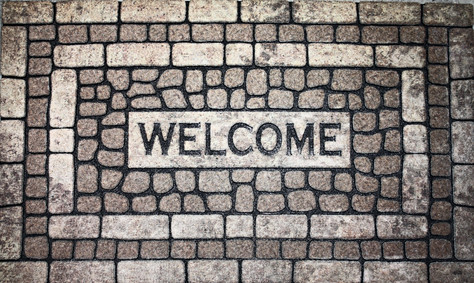FLOCKED WELCOME MAT