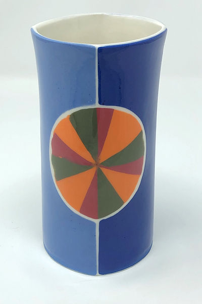 light blue / dark blue with orange, red & green pinwheel